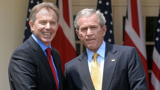 Tony Blair and George W Bush pictured together in 2007