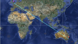 The possible route of the balloon from Derby to Sydney