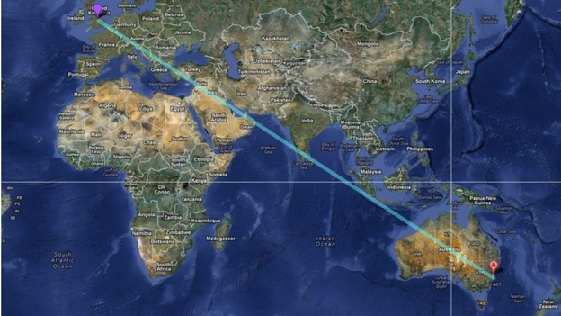 10000 miles for balloon from derby to australia central itv news the possible route of the balloon from derby to sydney gumiabroncs Choice Image