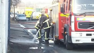 Fire crews at the scene in Walkden, Greater Manchester