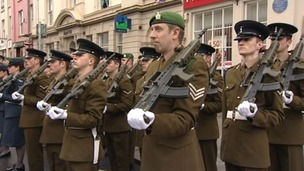 14th Signal Regiment marching through Haverfordwest