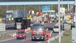 The M1 between Junction 13 and Junction 14 is now open after crash involving three lorries