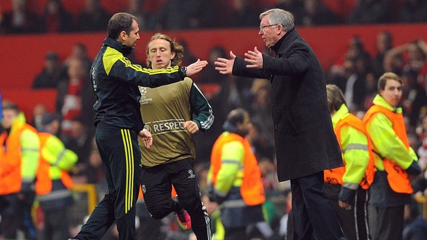 Sir Alex Ferguson argues with match officials after Nani is sent off