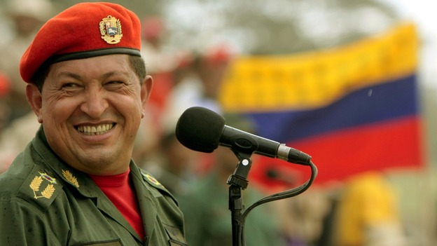 Venezuela's President and presidential candidate Hugo Chavez gestures to supporters during a campaign rally in Barquisimeto