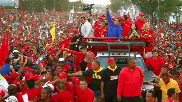 President of Venezuela Hugo Chavez addresses crowds of supporters at the Camden Centre, London in 2006