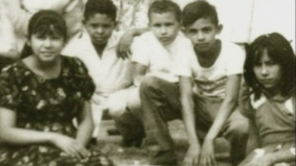 Hugo Chavez in the centre of his friends during his school years