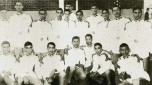 Hugo Chavez (standing, second from right) at the Military Academy