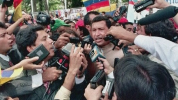 Hugo Chavez on the campaign trail as a Presidential candidate in 1998