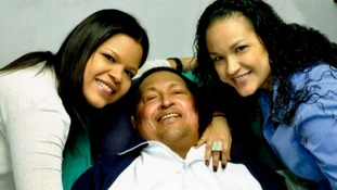 The last photograph of Hugo Chavez together with his two daughters in Havana