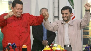 Hugo Chavez and Mahmoud Ahmadinejad at a joint petrochemical plant in the Asaluyeh industrial zone in Venezuela's Gulf coast