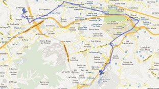 The parade route of Hugo Chavez's coffin through Caracas