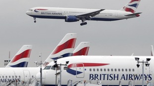 British Airways flight lands at Heathrow Airport