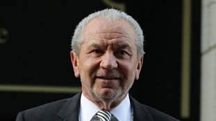 Lord Sugar leaving the East London Employment Tribunal Service earlier today