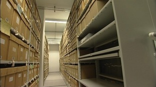 Archive boxes at Kent History and Library Centre