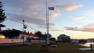 Falkland Islands flag flies alongside Union Jack on Victory Green in Stanley, Falkland Islands.