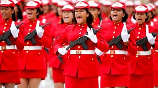 Venezuelan soldiers march during a military parade to commemorate the failed coup against Chavez, in Feb 2012