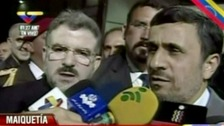 Iranian president Mahmoud Ahmadinejad arriving in Caracas for the funeral of Hugo Chavez