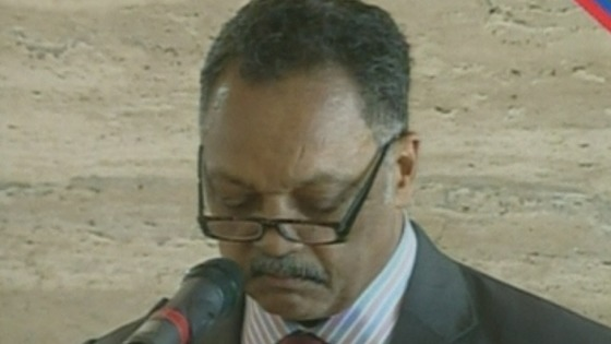Reverend Jesse Jackson giving a sermon at the funeral