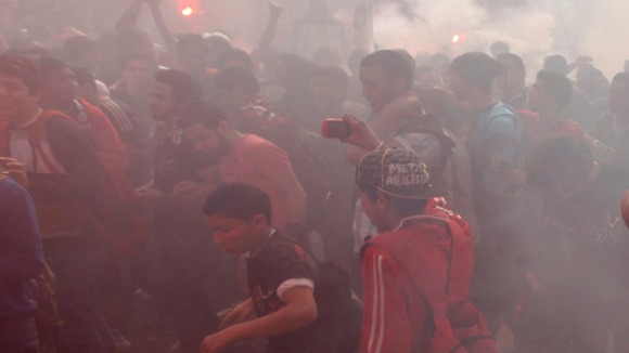 Al-Ahly fans in front of their club after hearing the final verdict 