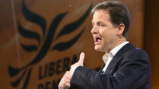 Deputy Prime Minister Nick Clegg talks to party activists in Brighton.