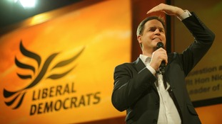 Nick Clegg addresses party members in Brighton on Saturday.