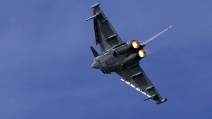 Britain&#x27;s new fighter jet, The Typhoon, flies through sky during a past military exercise