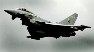 Britain's new fighter jet, The Typhoon, flies through sky during a past military exercise