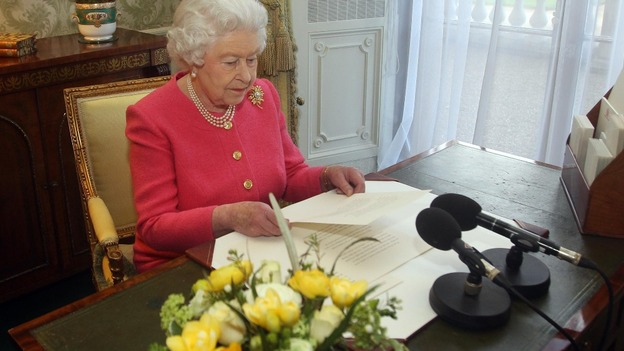 The Queen delivers her Commonwealth Day message at Buckingham Palace
