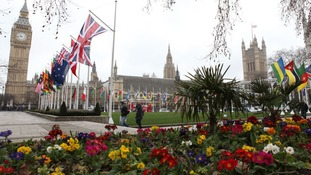 Flags of the Commonwealth fly around Parliament Square to mark Commonwealth Day