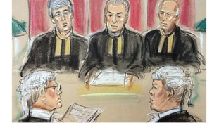 Robin Tam QC, left for the Home Office and Abu Qatada's lawyer, Edward Fitzgerald QC on the right, seen before the Appeal Court Judges.