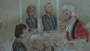 Court sketch of the Judge during sentencing of Chris Huhne and Vicky Pryce