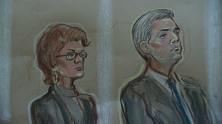 Chris Huhne and Vicky Pryce in Court 3 during sentencing