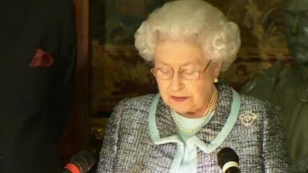 The Queen makes her speech at a Commonwealth reception this evening.