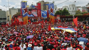 Venezuela's acting President Nicolas Maduro talks to supporters today.