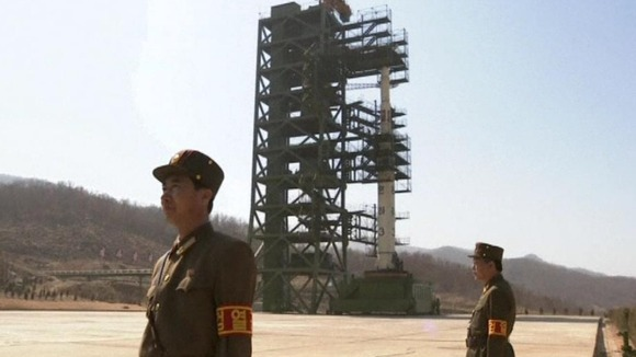 The North Korean rocket before it was launched