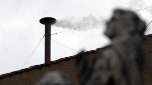 White smoke from the chimney on top of the Vatican&#x27;s Sistine Chapel when Benedict XVI was elected new pope in 2005