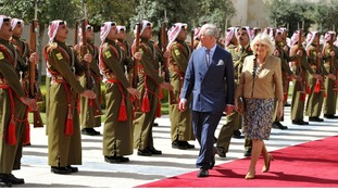 The Prince of Wales and Duchess of Cornwall arrive at the Palace in Amman, to meet King Abdullah and Queen Rania the capital of Jordan