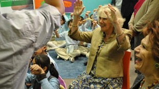 The Duchess of Cornwall visiting a school in Jordan