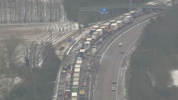 Lorries and cars are left grid locked because of the poor weather