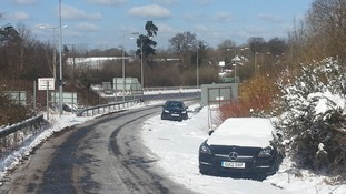 Cars abandoned off the A23