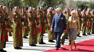 The Prince of Wales and Duchess of Cornwall receive an official welcome in Amman, Jordan