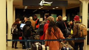 The Eurostar departures gate in London where passengers were told all trains have been suspended.