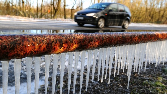 Icicles on the side of a road in South Derbyshire.