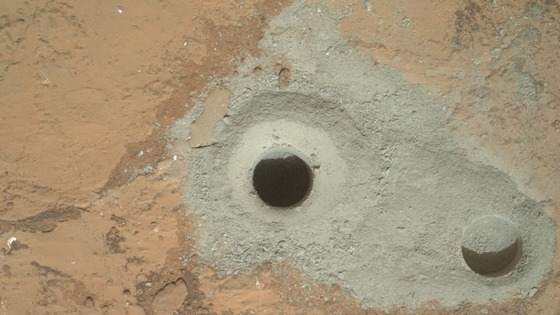 The hole created by the Mars rover's first sample drilling