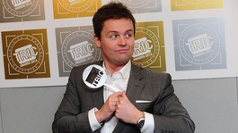 One half of Ant and Dec - Declan Donnelly - pictured with their Television Personality of the Year award.