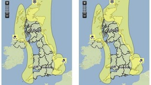 The Met Office issued 'yellow' warnings of severe weather for today and tomorrow.