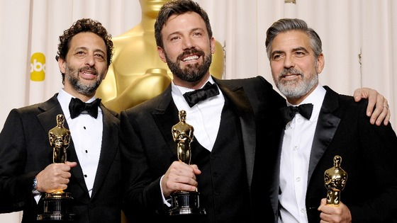 Argo producers George Clooney, Grant Heslov and actor-producer-director Ben Affleck with their Oscars.