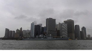 Type-42 destroyer HMS Edinburgh sails past New York City