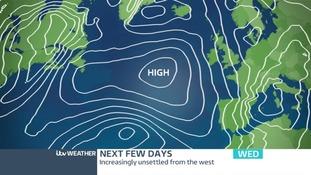 Pressure chart across the region