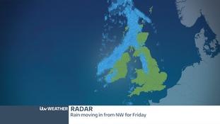 Radar image showing band of rain